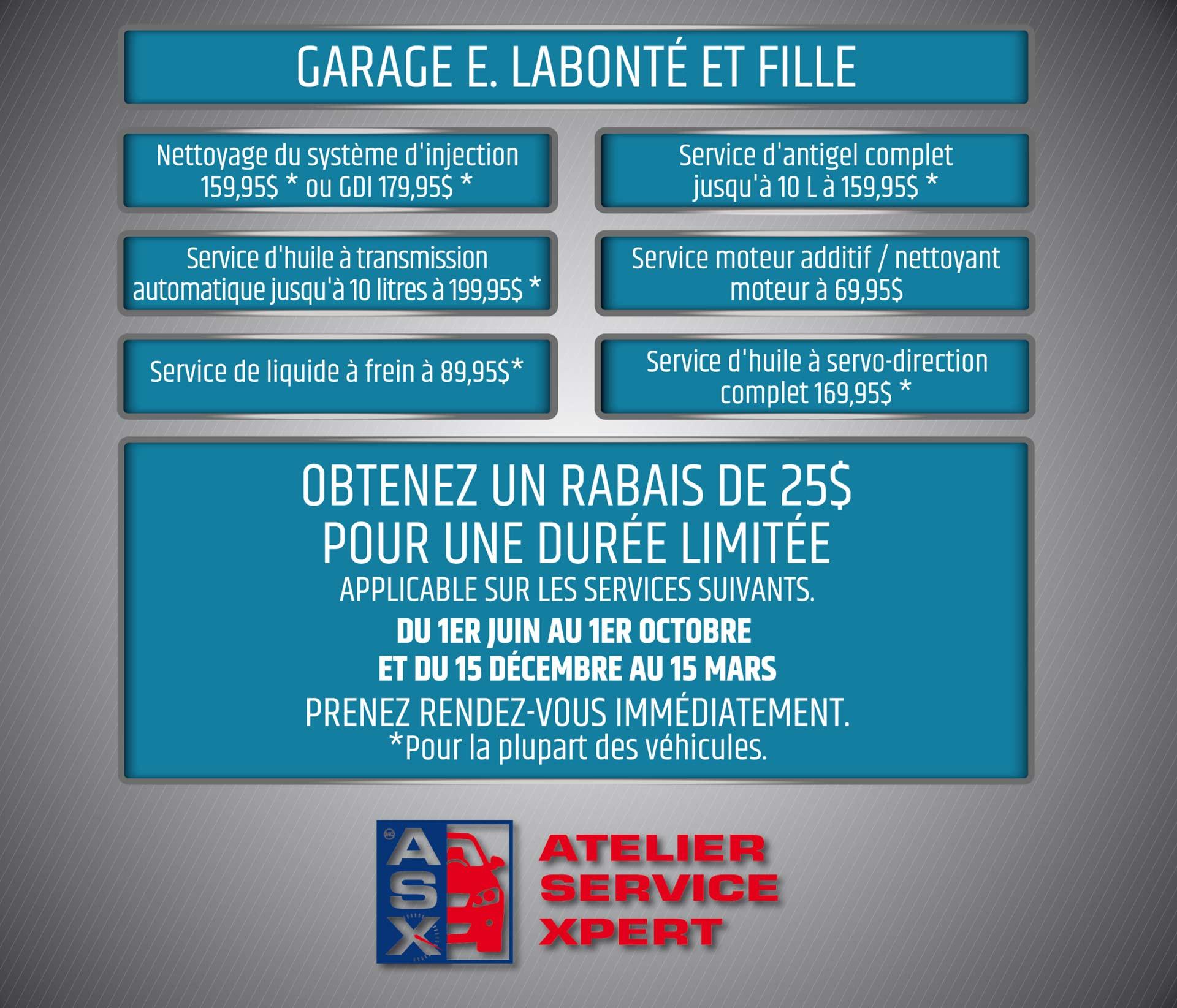 Promotion et rabais Garage Labonté et fille Ste-Thérère